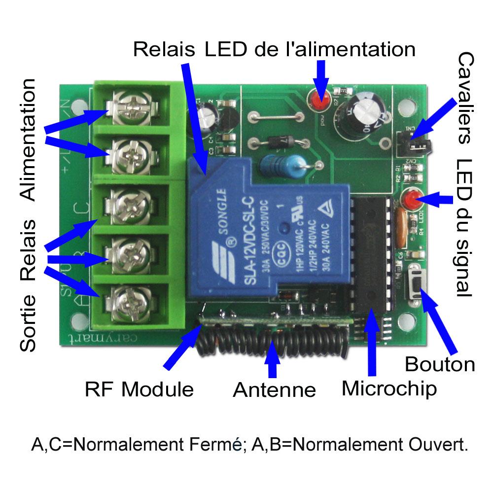 Commande radio metteur sans fil avec 2 fils connect s l appareil haute puissance 315mhz - Emetteur recepteur porte de garage ...
