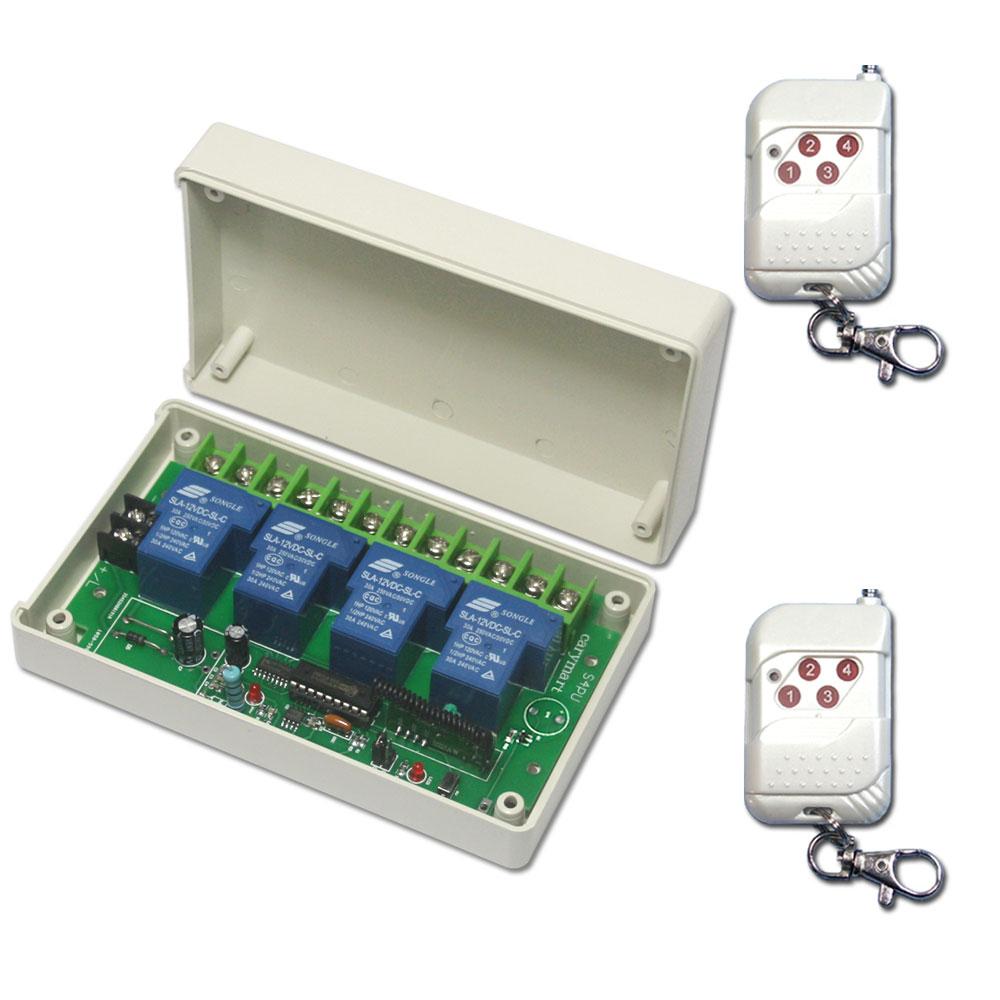 Commande radio comment utiliser kit metteur r cepteur sans fil haute puissance 4 canaux pour - Emetteur recepteur porte de garage ...